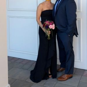 Strapless black bridesmaids dress